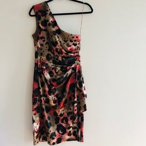 London Times One Shoulder Animal Print Dress